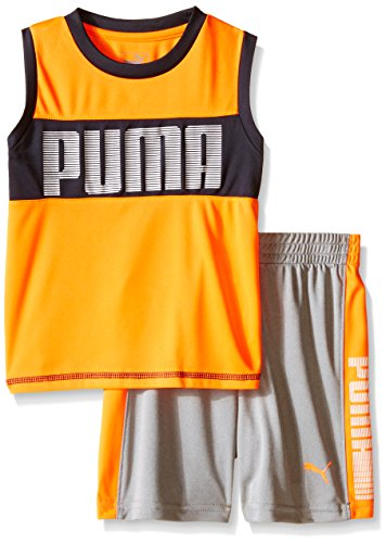UPC 888822163550, PUMA Little Boys' Active Tank and Short Set, Orange Gray, 7