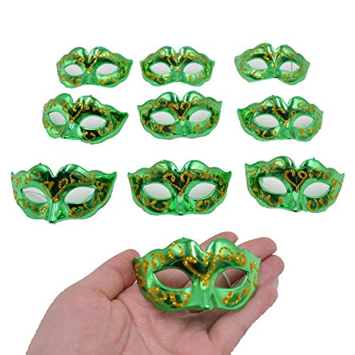 - Yiseng Small Masquerade Mask Party Decoration 10pcs Set Supper Mini Masks Mardi Gras Halloween Costume Novelty Gifts Green