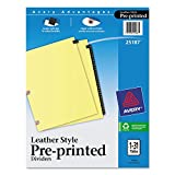 Avery 25187 Black Leather Tab Dividers, 1-31, 31 Tabs, 8-1/2''x11'', Buff