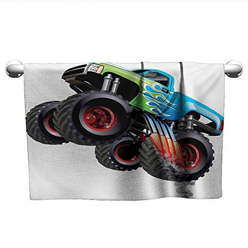 alisoso Cars,Wholesale Towels Cartoon Monster Truck Cool Vehicle Modified to The Perfection Colorful Design Eco-Friendly Aqua Green Black W 28