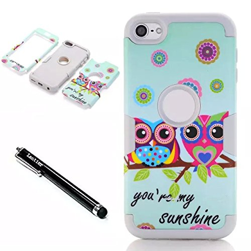 ipod touch 6th generation Case,Lantier 3 in 1 Shield Style Slim Thin Shockproof Hybrid Dual Layer Cute Lovely Sunshine Owls High Impact Armor Case Cover for Apple iPod Touch 5 6th Generation White
