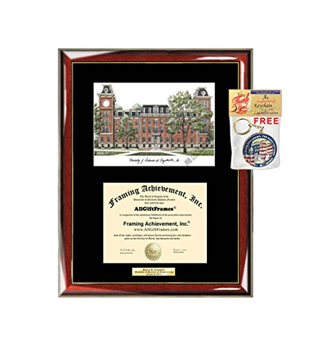 (AllGiftFrames University of Arkansas Diploma Frame Lithograph Degree Graduation Framing Black Matted Engraved Custom University Graduate Gift Holder Case)