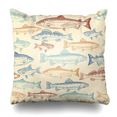 Ahawoso Throw Pillow Cover Drawing Blue Salmon Fish Red Pattern Graphic Fishing Trout Seafood Decorative Pillowcase Square Size 18