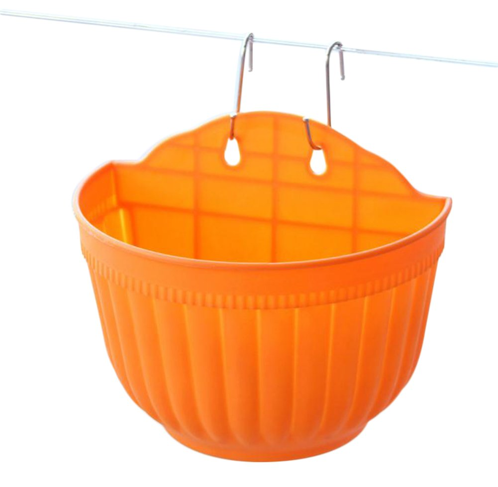 Hosaire Hanging Flower Pots Plastic Basket Bucket Planters Mountable Garden Patio holder Pot Orange