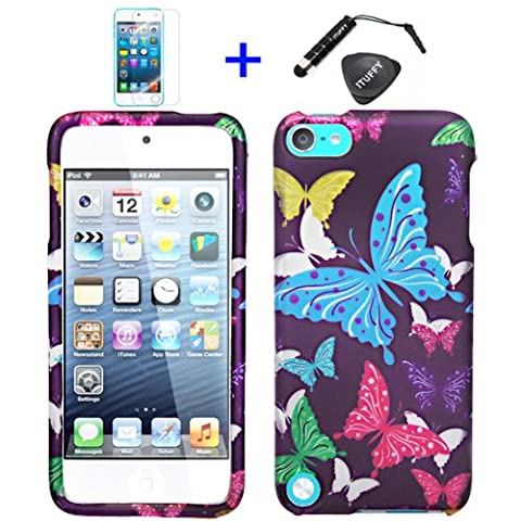 4 items Combo: ITUFFY (TM) LCD Screen Protector Film + Mini Stylus Pen + Case Opener + Purple Pink Green Yellow Blue Multi Color Butterfly Design Rubberized Snap on Hard Shell Cover Faceplate Case for Ipod Touch 5 (5th Generation Ipod - Case Faceplate Cover Ipod