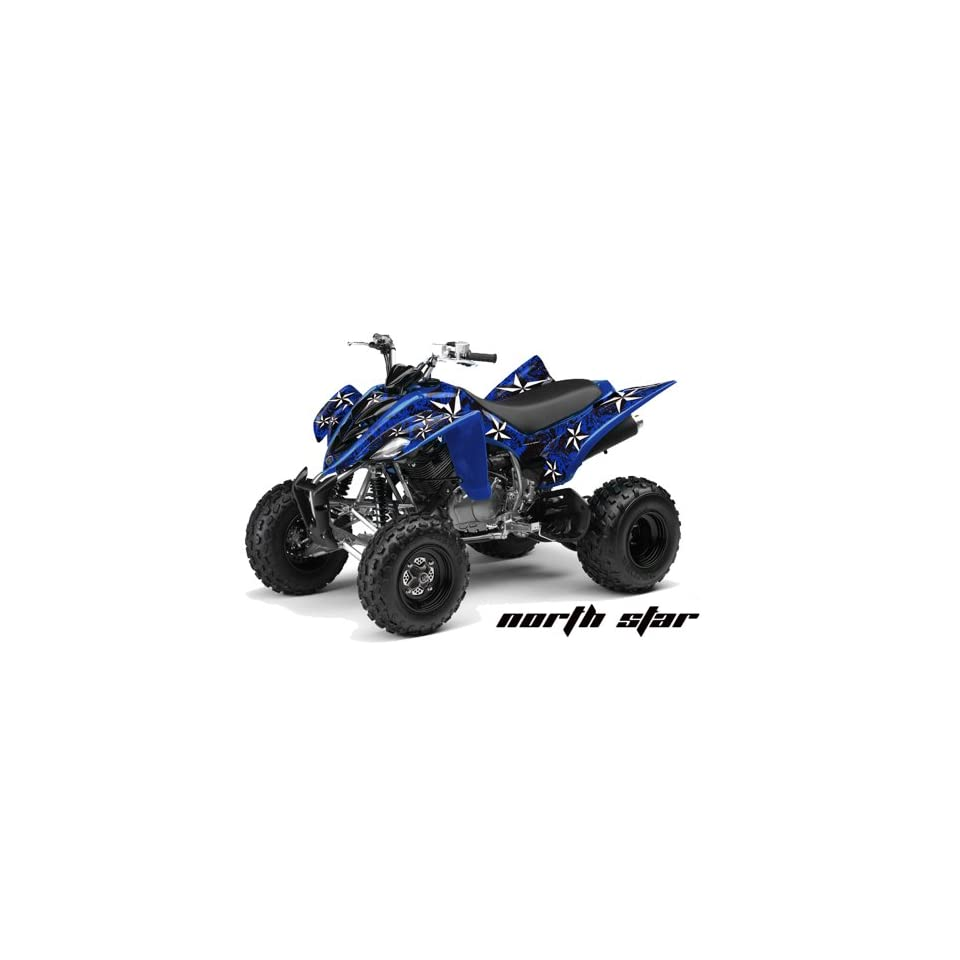AMR Racing Yamaha Raptor 350 ATV Quad Graphic Kit   Northstar Blue, Black