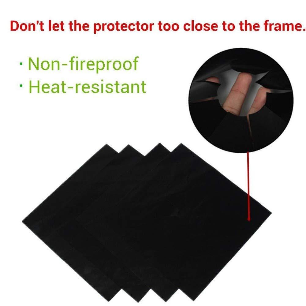 4pcs Glass Fiber Gas Stove Protectors Reusable Gas Stove Burner Cover Liner Mat Pad Home Kitchen Tools Fit Almost Gas Stoves 0.12mm, black