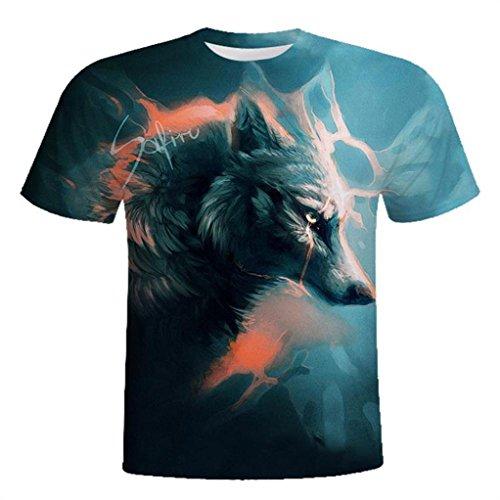 607b289b2ffab3 Gusspower Herren Freizeit T-Shirt Modisch Wölfe 3D Printing Schwarz Tees  Shirt Kurzarm O-Ausschnitt Tops  Amazon.de  Bekleidung
