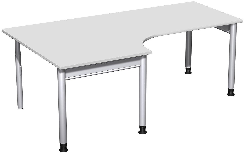 Geramöbel PC-Schreibtisch links höhenverstellbar, 2000x1200x680-820, Lichtgrau/Silber