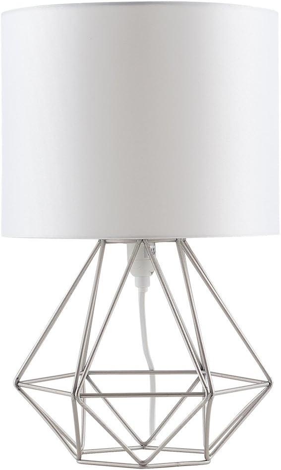 MiniSun - Moderna Lámpara de Mesa Blanca – Innovadora Base de Estilo Jaula - Pantalla Blanca- Iluminación Interior
