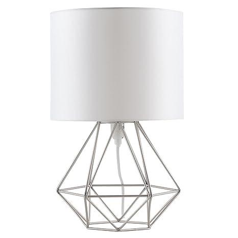 MiniSun - Moderna lámpara de mesa Angus, con innovadora base de estilo jaula blanca [Clase de eficiencia energética A]