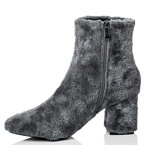 SPYLOVEBUY FOXIE Mujer Piel Sintética Tacón Bloque Botes Bajas Zapatos Gris