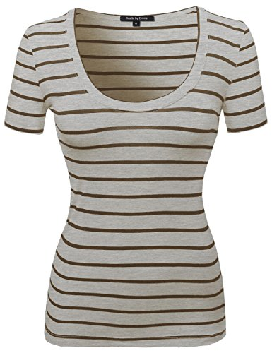 Contemporary Broad Basic Stripe Pattern Tee Beige Mocha L (T-shirt Underwear Pattern)