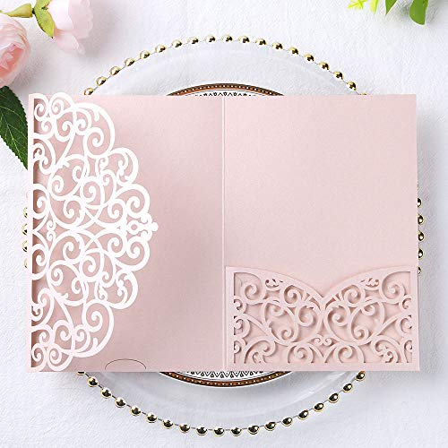 PONATIA 5.12 x 7.2 Inches 20PCS Tri-Fold Laser Cut Wedding Invitation Pocket with Envelopes for Wedding Bridal Shower Engagement Birthday Invite (Blush Pink, 20pcs No Inner Sheet)