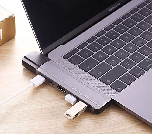 USB Cable Winnes Multi-Function HUB Adapter 7 in 1 Multiple USB Hub Compatible USB Extension Cable for for Dual-Head USB Type-C Extended USB3.0 Card Reader