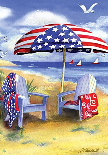 Patriotic Beach Summer Garden Flag Adirondack Chairs Nautical 12.5