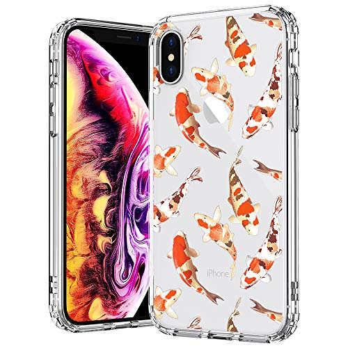 - MOSNOVO Case for iPhone Xs/iPhone X, Fashion Koi Fish Printed Clear Design Transparent Plastic Hard Back Case with TPU Bumper Protective Case Cover for iPhone X/iPhone Xs