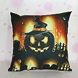 VESNIBA Halloween Pumpkin Square Pillow Cover Cushion Case Zipper Closure (C)