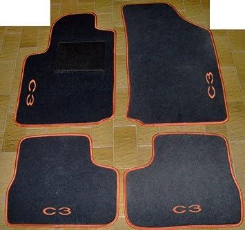 Set complet de tapis en moquette sur mesure avec broderie /à fil Arancione Citroen C3/Pluriel Tapis Gris pour voiture