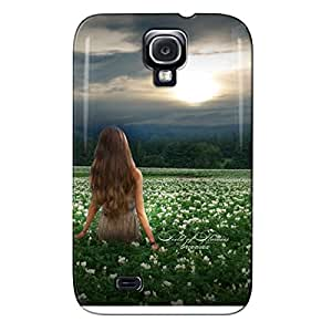 Fantasy TPU For Sumsang Galaxy S4 Gray Field Of Flowers Protective Hard Case