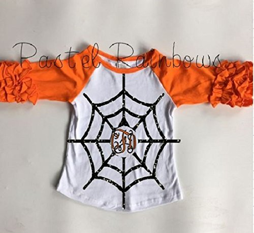 Monogrammed Halloween Icing Raglan-Spiderweb Shirt-Girls Halloween Raglan]()