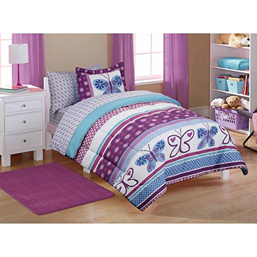 Mainstays Kids Floral Purple Bugs and Butterfly Animal Prints Bedding TWIN Comforter for Girls (4 Piece in a Bag)