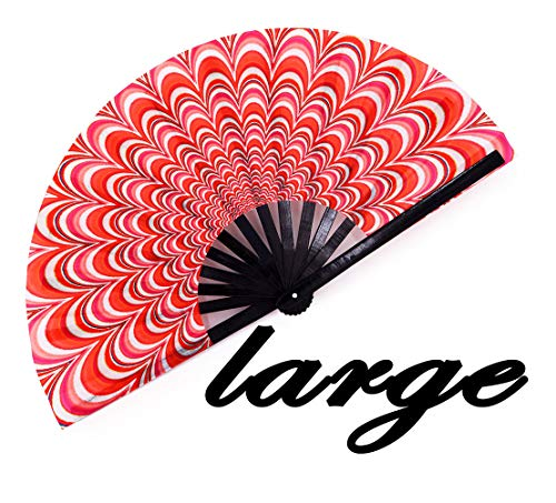 meifan Large Festival Rave Fan, Japanese Bamboo Folding Fan -Women Men Rave Festival Accessories for Drag Queen Performance EDM Concert Party Parade Cruise Club Event Dance (Trippy) -