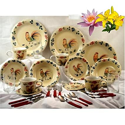 80PC ROOSTER DINNERWARE SET ROOSTER SET  sc 1 st  Amazon.com & Amazon.com | 80PC ROOSTER DINNERWARE SET ROOSTER SET: Dinnerware Sets