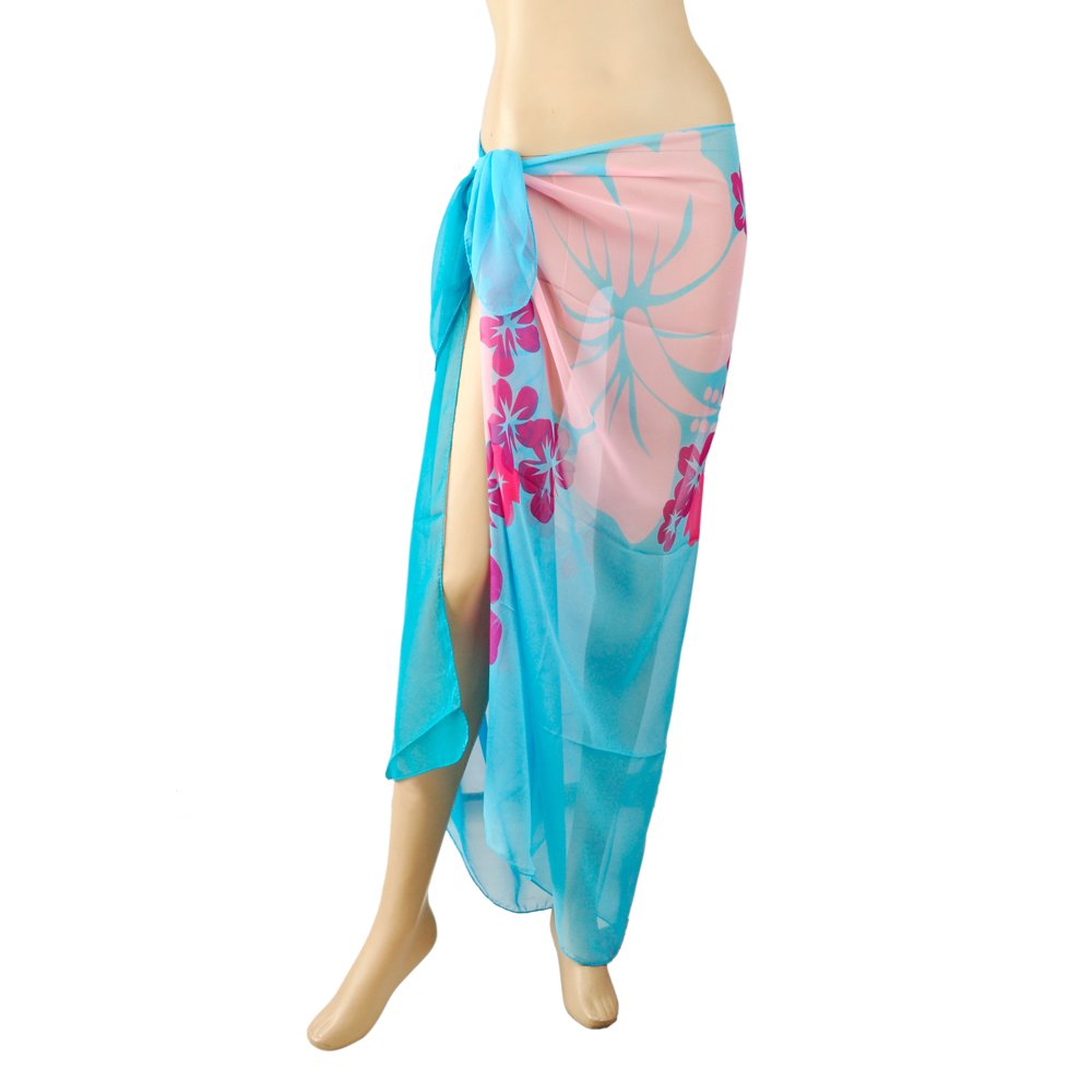 TopTie Swimwear Cover-up Sarong - Lake Blue with Floral Print SCNJ-HA12508