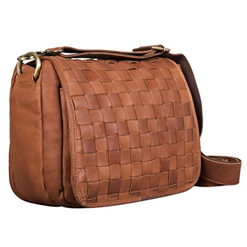 STILORD Freetime Vintage Leather in Cross Ladies Shopping Party for Genuine Bag Hand Brown for Leather Bag Small Braided Bag Girona girona Body 'Mia' Shoulder Brown Women Colour UqrxUCw