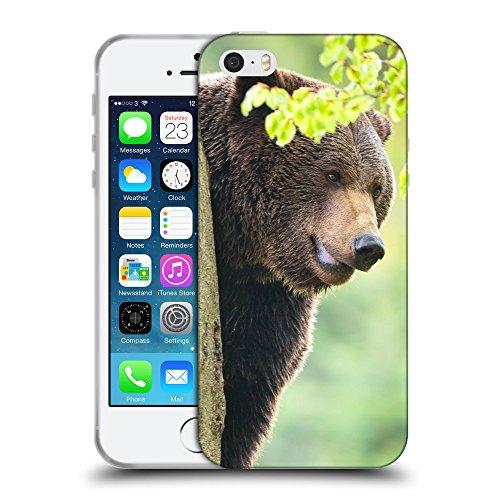 Just Phone Cases Coque de Protection TPU Silicone Case pour // V00004083 ours brun sur un arbre // Apple iPhone 5 5S 5G SE