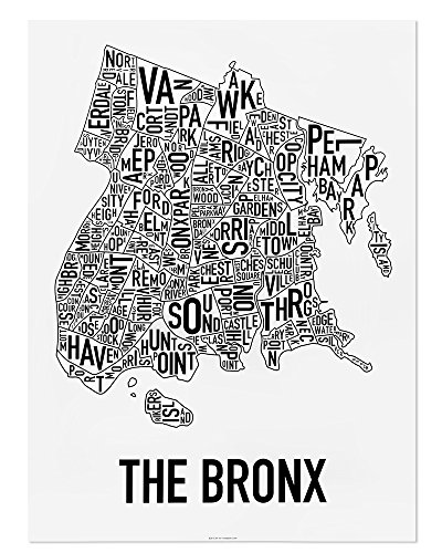Bronx Neighborhoods Map Art Poster, Black & White, 18