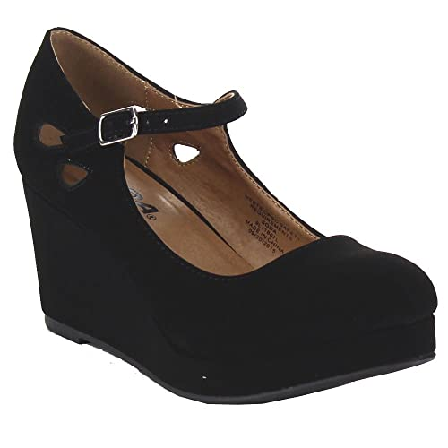 8bf6cf0a88a SODA TYLEE-2 Girl s Tear Drop Cut Out Mary Jane Low Platform Wedge Pumps