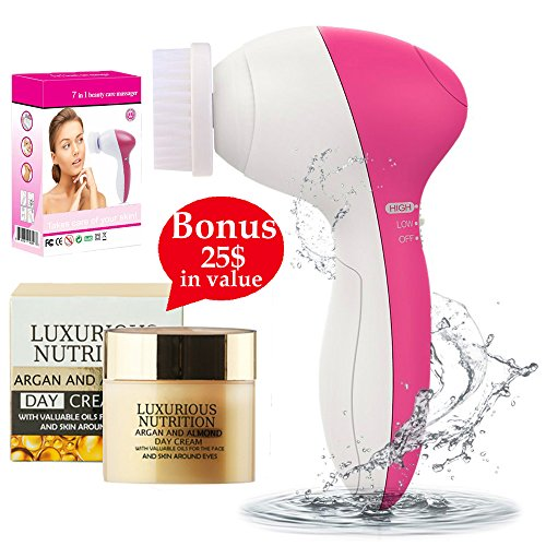 Get Flawless Skin with 7 in 1 Multifunction Electric Facial Cleansing Brush Massage Anti Aging Derma Face Scrubber Acne Blackhead Remover + European Super Nutrient Facial Cream $25 in value + E-Book