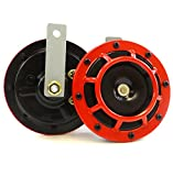 Set of 2 Auto Car Truck 12 Volt Electric Vehicle Horn Sound Level 110db Red / Black