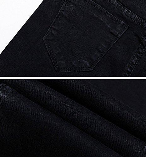 Con Elasticizzati Denim Jeans Vita Donna Taglio Casual Dexinx Normali Da Nero Pantaloni Bassa In A Alta wt6vnUq