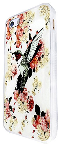645 - Floral Shabby Chic Roses Fleurs Bird Design iphone SE - 2016 Coque Fashion Trend Case Coque Protection Cover plastique et métal - Blanc