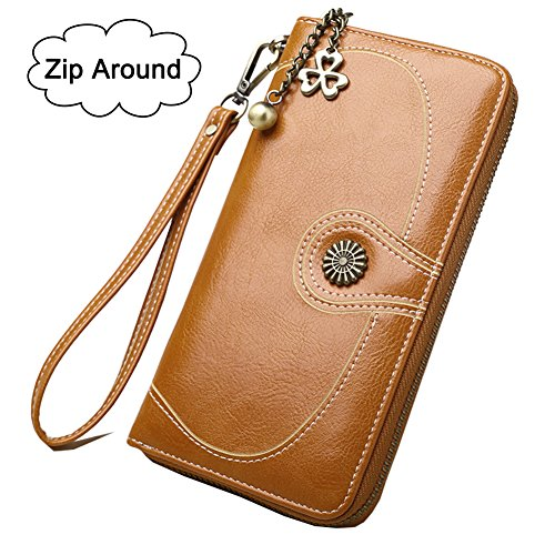 Women's RFID Blocking Leather Clutch Wallet with Wrist Strap Large Capacity Card Holder Organizer Purse Wallets for Ladies Girls (#2 Brown) Brown Ladies Purse Accessories