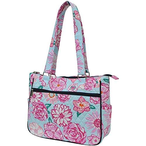 - Ngil Quilted Cotton Shoulder Bag (Rose Floral Navy Blue)