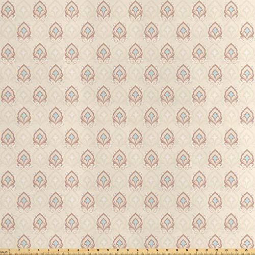 Lunarable Cream Fabric by The Yard, Traditional Asian Damask Motifs Antique Style Oriental Old Fashioned Pattern, Decorative Satin Fabric for Home Textiles and Crafts, Cream Tan Pale Blue from Lunarable