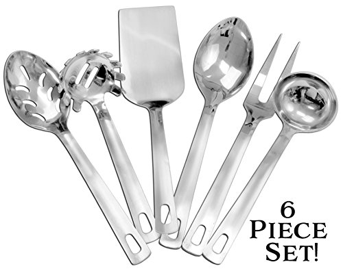 Complete Serving Spoon & Utensil Set (6-Piece Set); Includes Pasta Server, Fork, Spoon, Slotted Spoon, Ladle, & Cake / Casserole Server; Stainless Steel Classic Plain Handle (Spoon Fork Ladle)