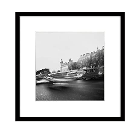 Quedom framed decorative canvas print wall art with matboard black and white paris photography ready