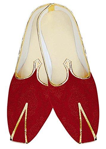 INMONARCH Mens Crimson Jute Silk Wedding Shoes Designer MJ17089 Crimson lPMayfGQ