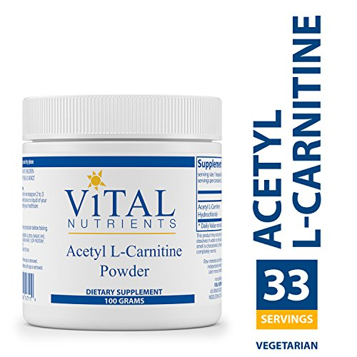 Brain Nutrients (Vital Nutrients - Acetyl L-Carnitine Powder - Supports Normal Brain Function - Vegetarian - 100 Grams)