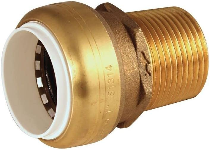 Sharkbite UIP120 Schedule 40 PVC Transition Individually Bagged Coupling, Brass