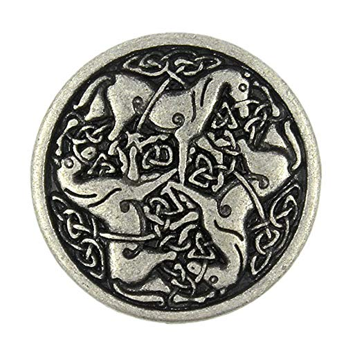 Bezelry 10 Pieces Celtic Horses Metal Shank Buttons. 25mm (1 inch) (Antique Silver)