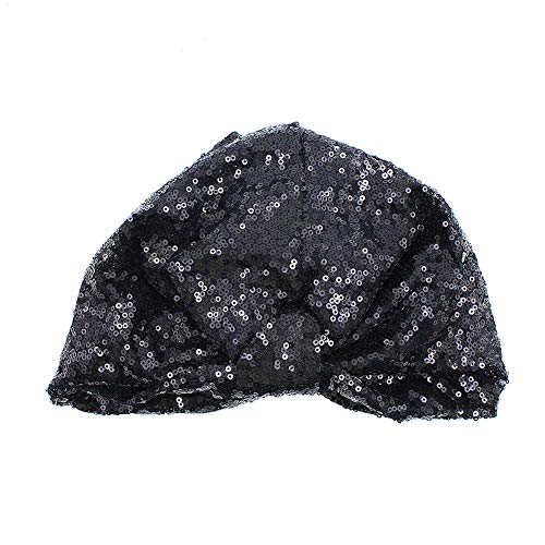 RARITYUS Women's Girls Glitter Sequin Pleated Turban Stretchy Chemo Sleep Hat Soft Indian Headwear Cap Black - Glitter Turban Hat