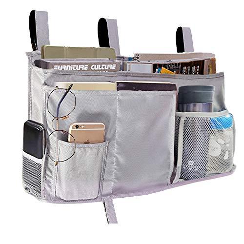 Bedside Storage Organizer, Bedside Caddy with 8 Pockets Beside Hanging Pocket Organizer for Dorm Bunk Rooms Beds and Baby Stroller, Grey ()