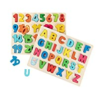 Joqutoys Toddlers Wooden Alphabet Puzzles Set ABC Letter and Numbers Puzzles Board for 1 2 3 Years Old Girl Boy Learning Educational Toys