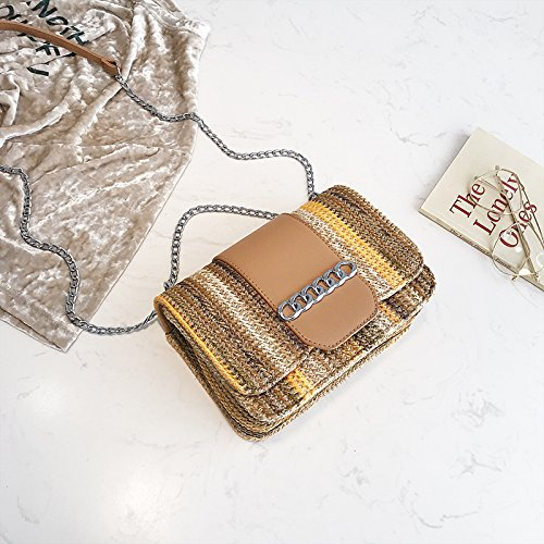 Khakistripe Hand woven Chain Bag Khaki Bag Crossbody Fairy GAOQQ Straw Fashion Shoulder Bag Female Bag 6nF8wq